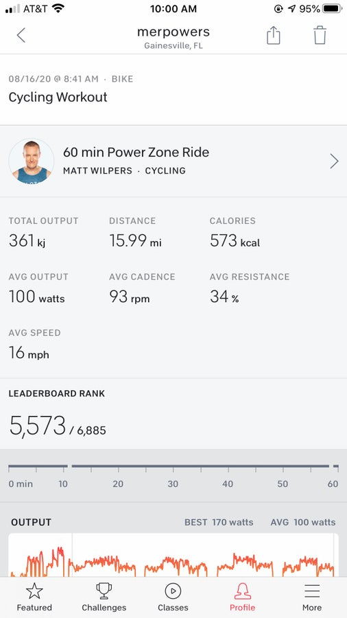 View workout in the Peloton app