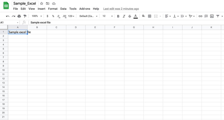 Google Sheet converted from Excel