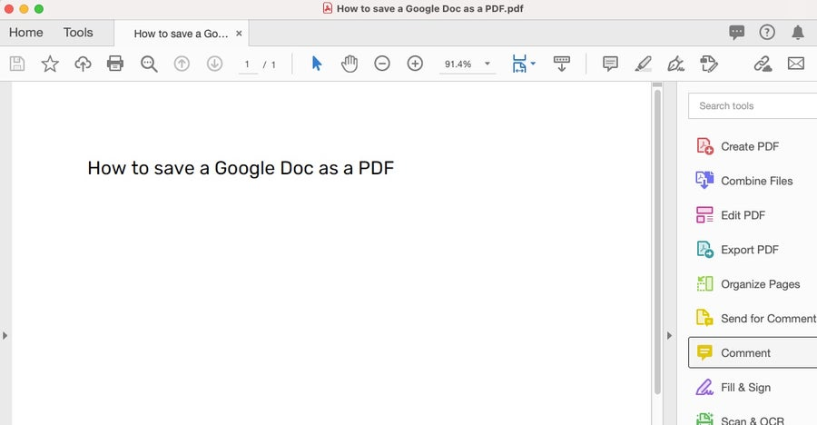 Google Doc as PDF file