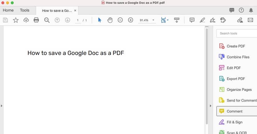 Google Doc as PDF file
