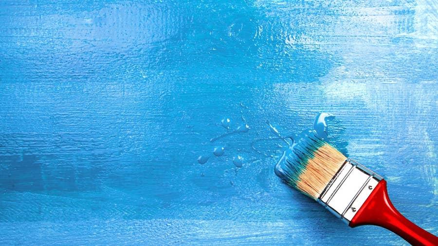 Varnish on blue painting.
