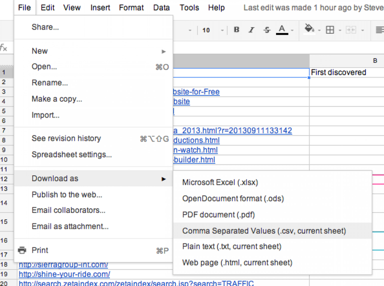How to create a .csv from a Google Spreadsheet