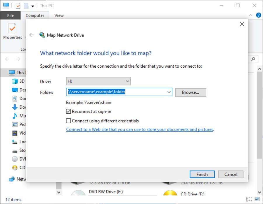 Windows 10 Network Drive Path
