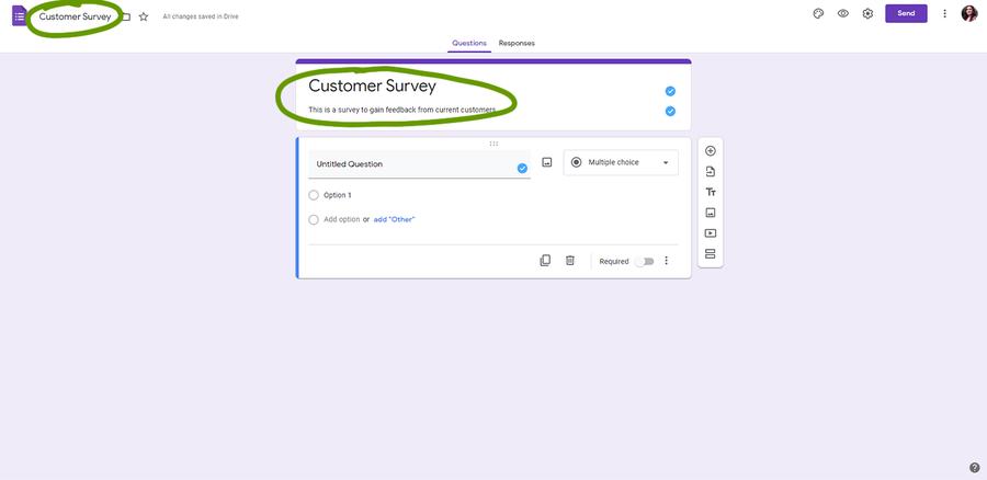 create a survey google forms change name add description