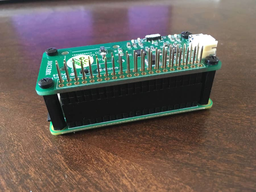 Place the JuiceBox Zero onto the header and secure with screws
