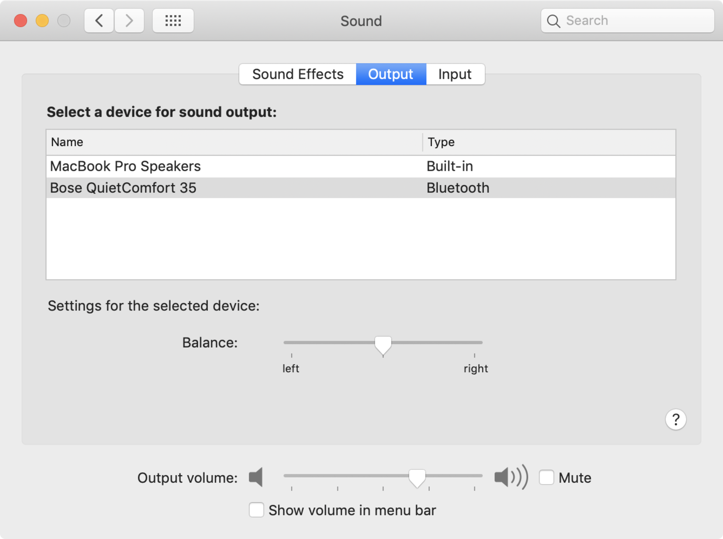 MacOS sound output system preferences screenshot