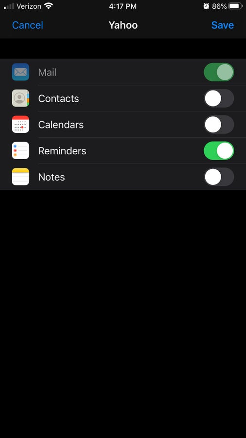 iPhone email settings