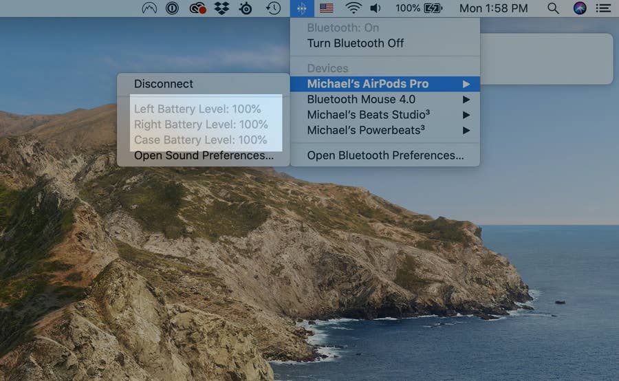AirPods Pro Battery Levels on Mac