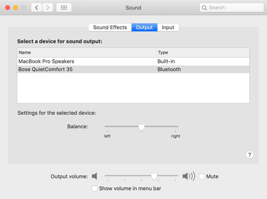MacOS sound preferences screenshot