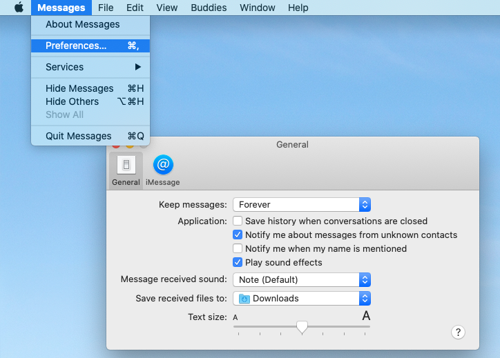 Opening iMessages Preferences