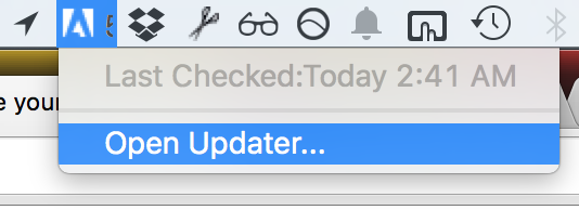 "Click the icon in the menu bar and choose ""Open Updater"""