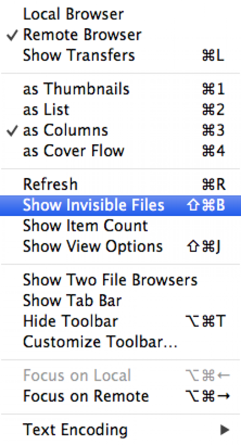 Enable Invisible Files