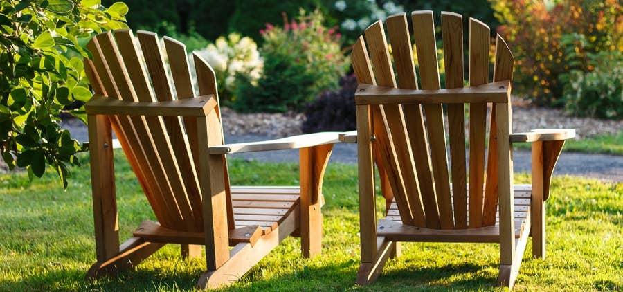adirondack chairs backyard