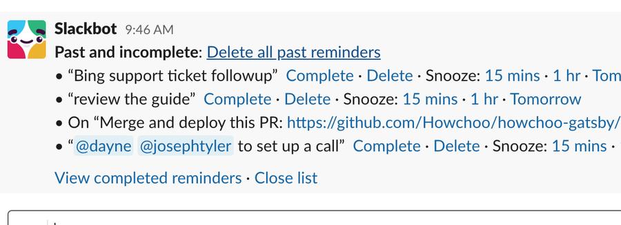 Delete all Slack reminders