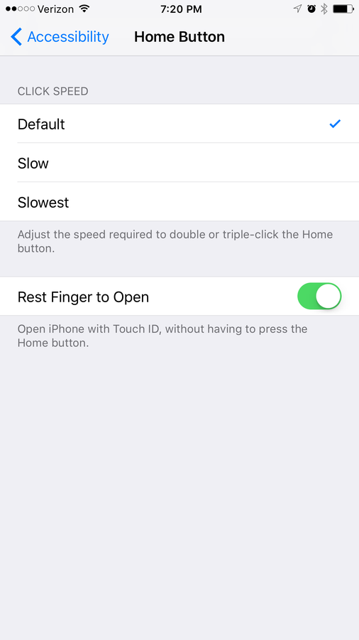 Turn on Rest Finger to Open