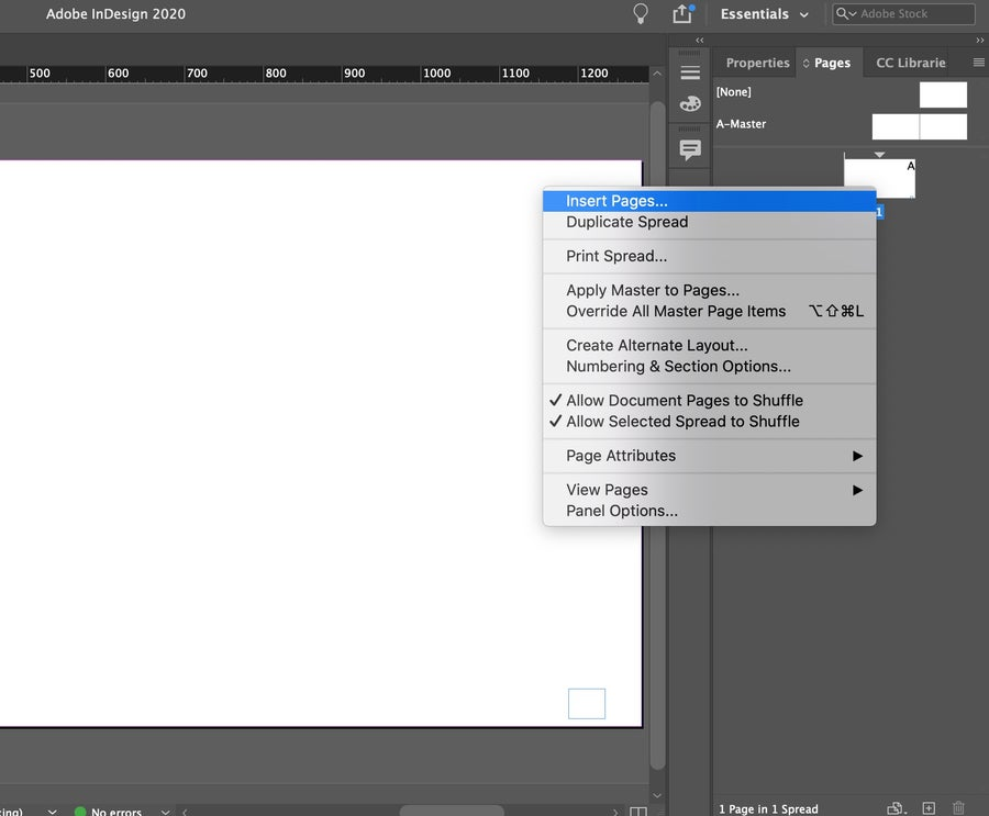 Insert Pages in InDesign