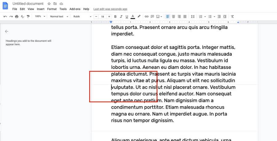 delete page break google docs