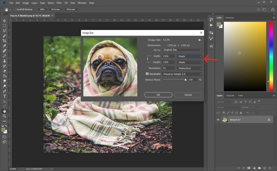 Photoshop Image Pixel Size
