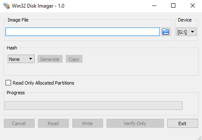 Launch Win32 Disk Imager