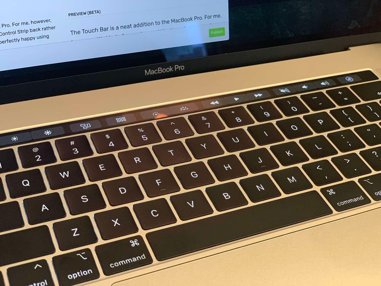 MacBook Pro Keyboard showing Control Strip