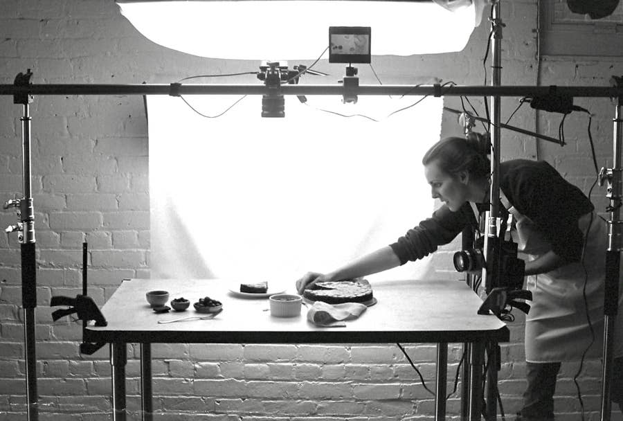 The setup in a food photography studio