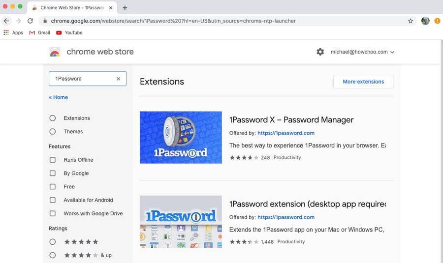 1Password Extensions Chrome