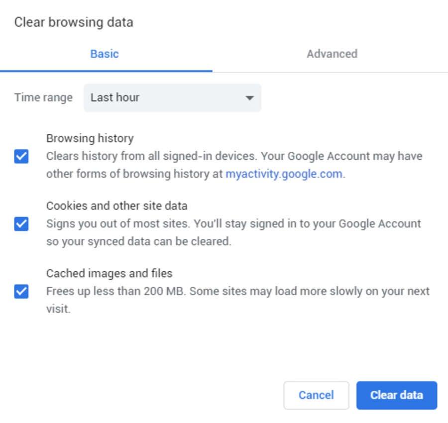 Clear Chrome cache