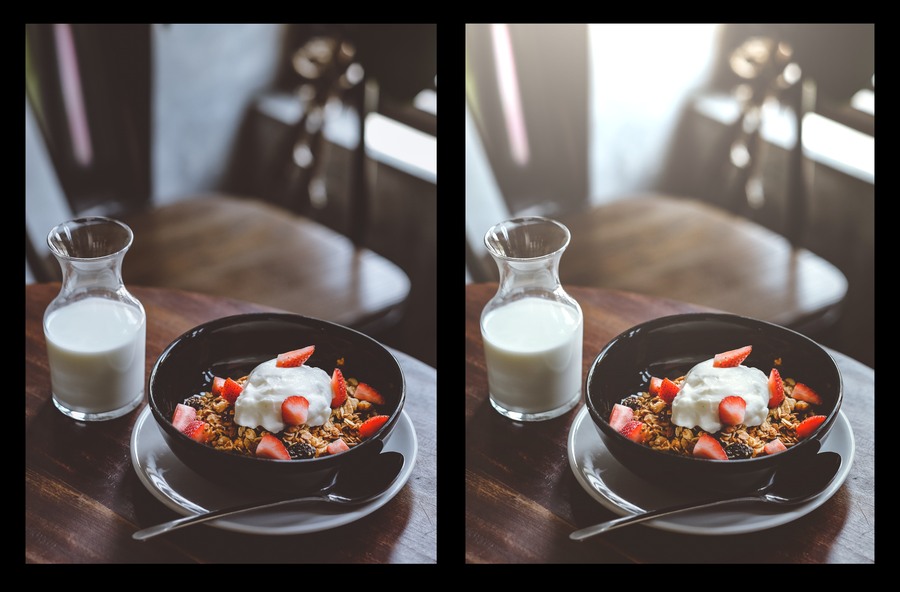 Two photographs of breakfast, one with more light.