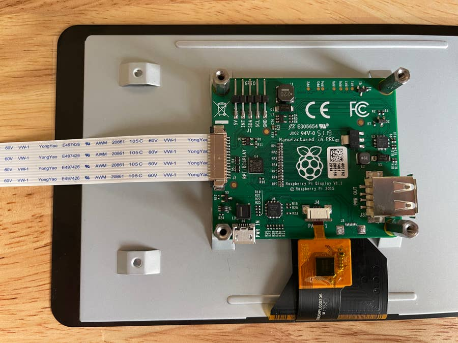 Raspberry Pi touch display ribbon cable attached