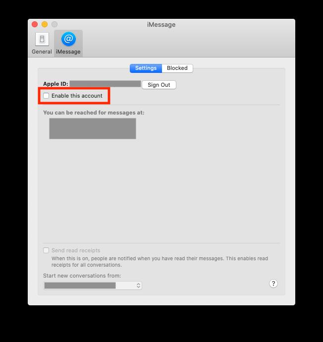 Disabling iMessage on Mac