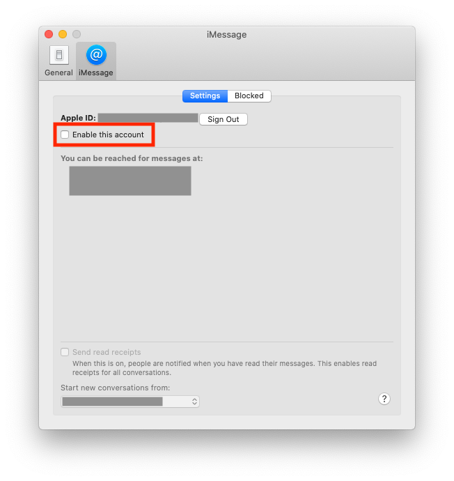 Disabling iMessage on Mac