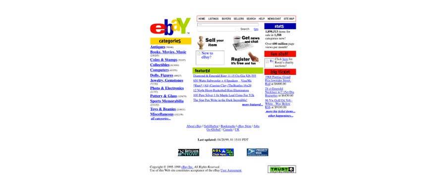 ebay original homepage