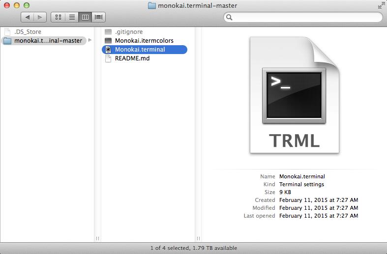 Install monokai.terminal