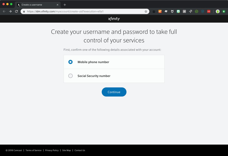 Xfinity account registration screenshot