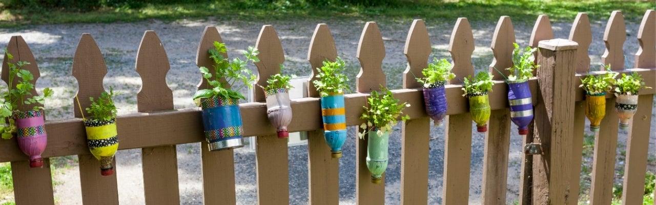 DIY children's fence planters