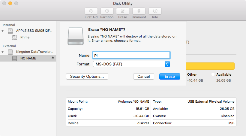 Format your USB flash drive to work with Raspberry Pi