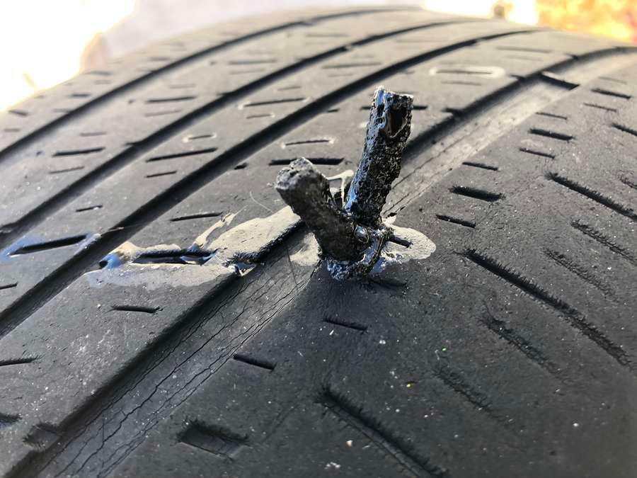 How to patch a hole in a tire - tire string plug.