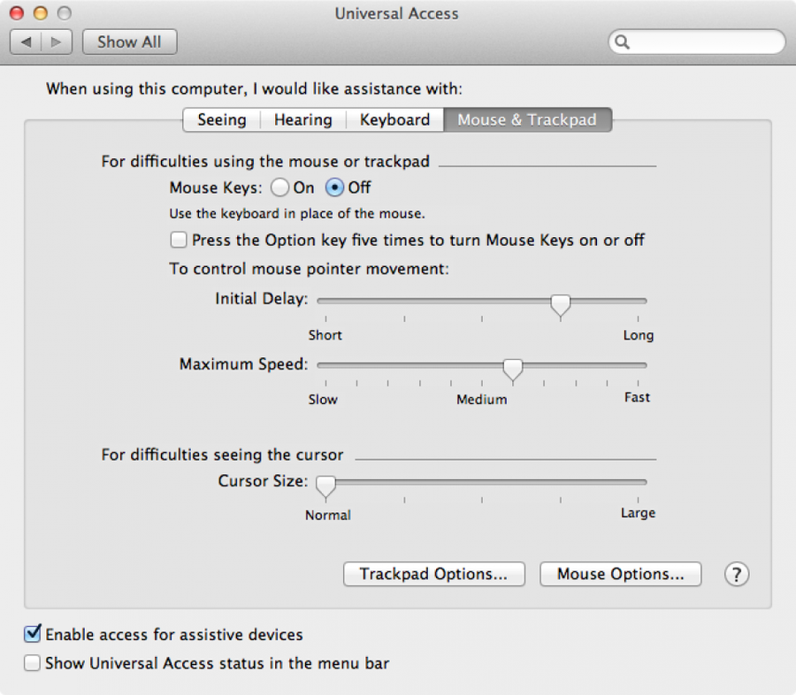"""Select the """"Mouse & Trackpad"""" tab and then click the """"Trackpad Options"""" button."""