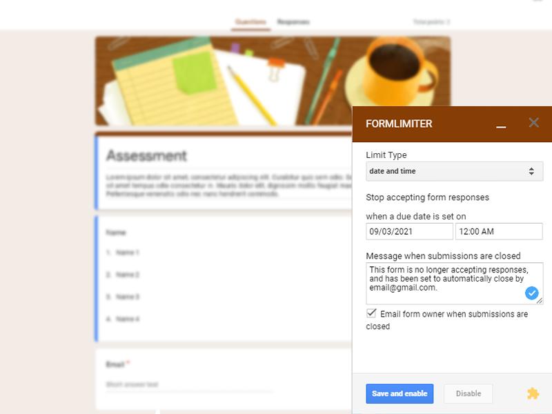 google forms addon formlimiter