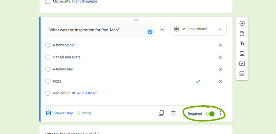 google forms create a quiz make question required