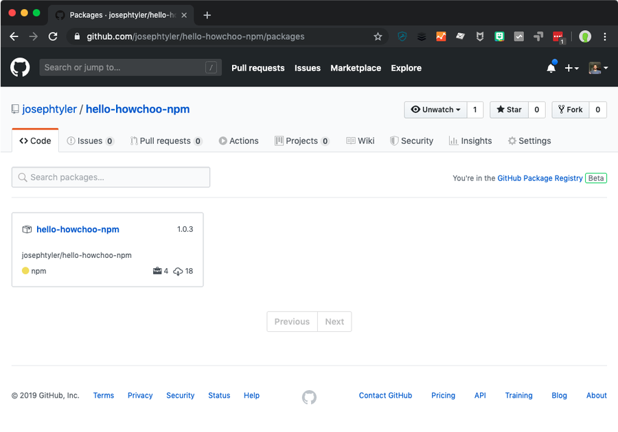 GitHub Package web view