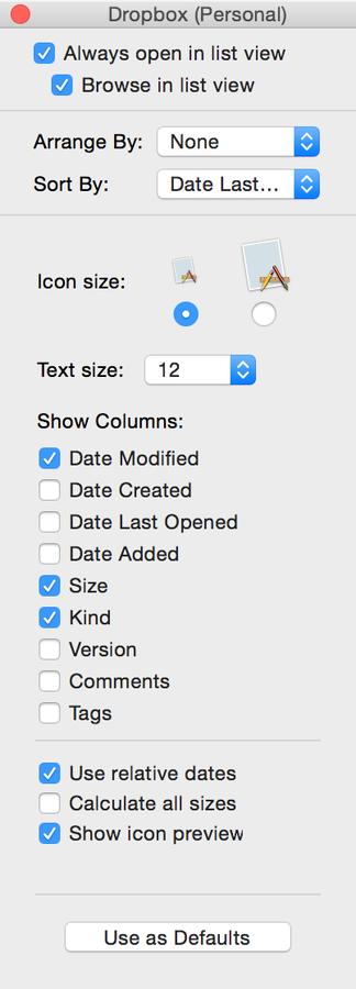 Set the default view options