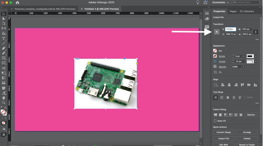 InDesign Arrow to Transform Image
