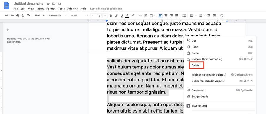 highlight and delete page google docs