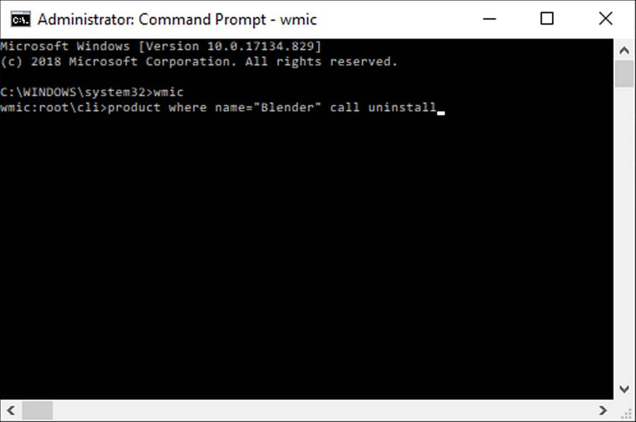 Windows 10 uninstall with command prompt