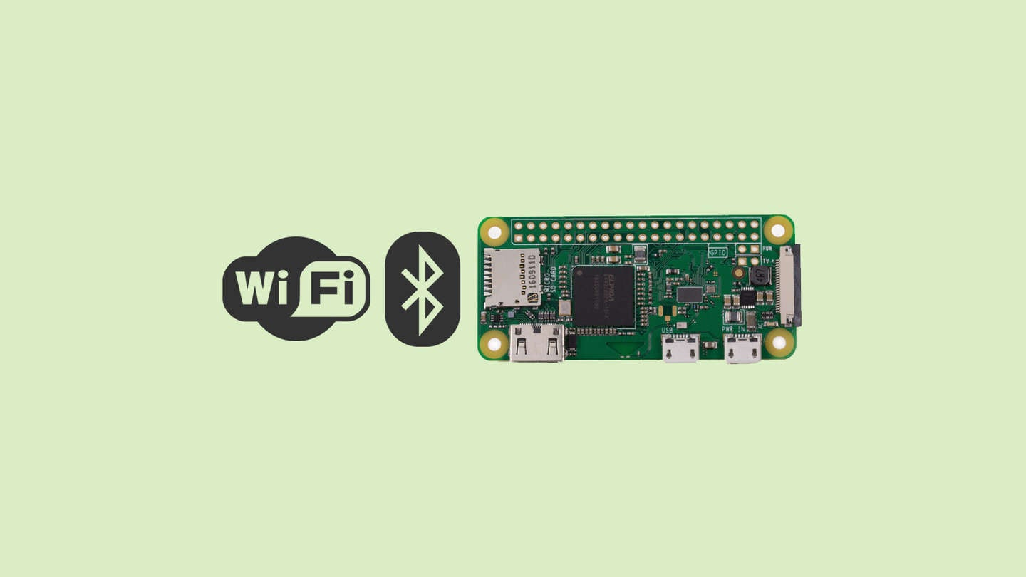 Raspberry Pi Zero W with Wi-Fi and bluetooth logos