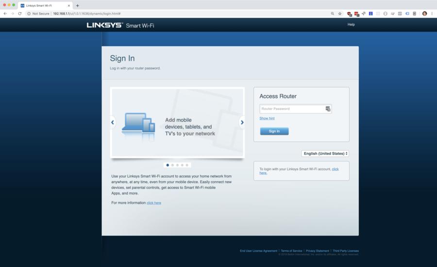 Linksys router login screen