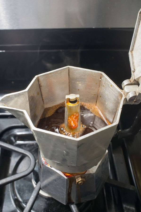 At first sign of sputtering, remove from heat