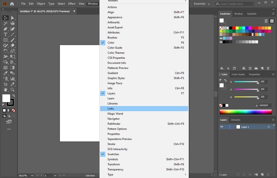 Adobe Illustrator Window Links
