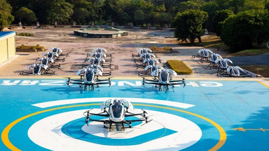 Ehang transport taxi drone.